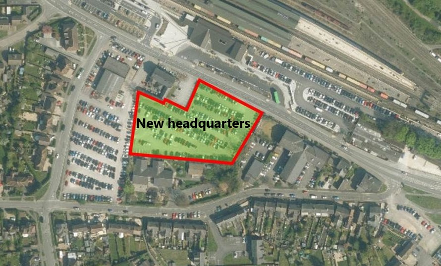 Map of the Gateway site with the land for the new offices highlighted